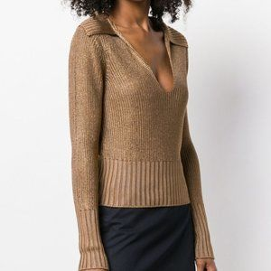Theory Long-Sleeve Cropped Sweater Toffee Size XL